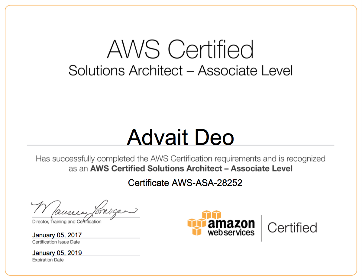 Aws Solutions Architect Associate Certification Persistent